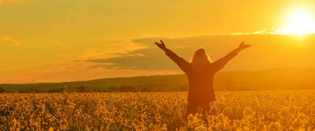 Happy person with arms up in field