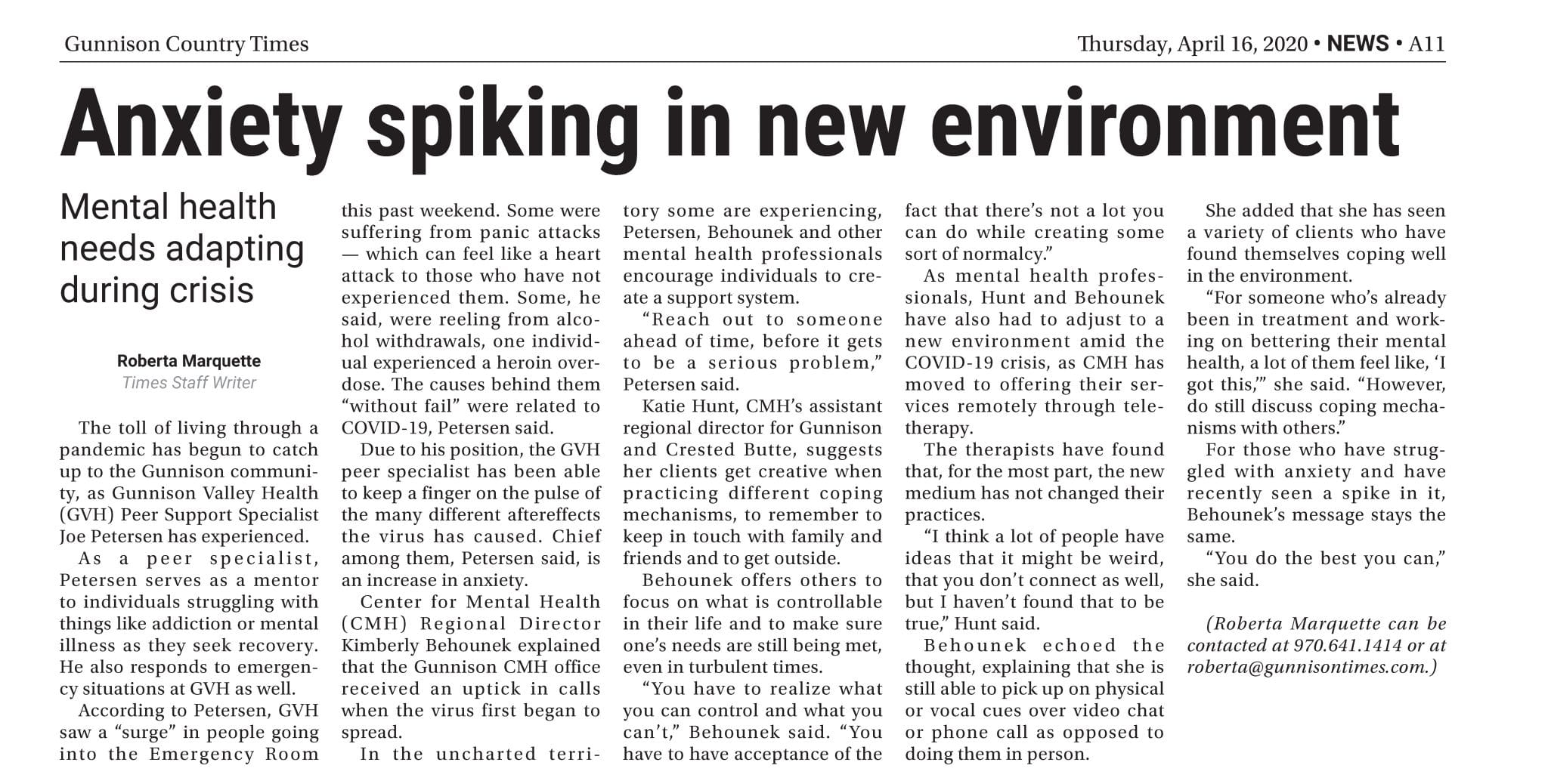 Anxiety spiking in new environment (Gunnison Country Times)
