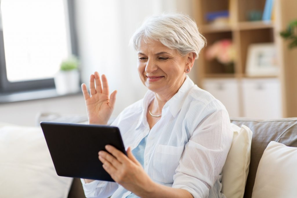 Senior woman on video chat
